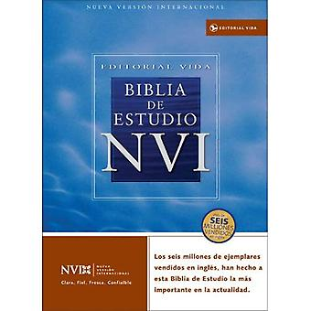 NVI Biblia de Estudio: Nueva Version Internacional, piel imitacion negro, indice