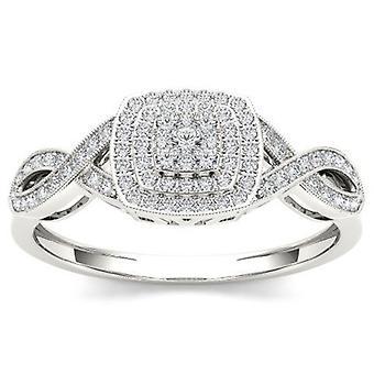 IGI Certified 10k White Gold 0.25 Ct Diamond Cluster Halo Engagement Ring