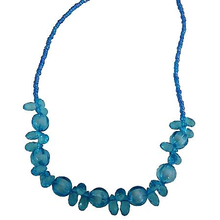 Beautiful Blue Teardrops Beads Necklace Gift For Girls