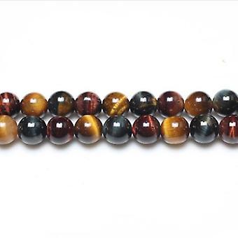 Strand 62+ Mixed Tiger Eye 6mm Plain Round Beads GS0382-1