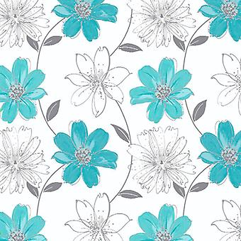 Samba Motif White Aqua Metallic Silver Wallpaper Flower Floral Luxury Arthouse