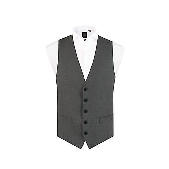 Dobell Mens Light Grey Suit Waistcoat Regular Fit 5 Button Travel/Performance