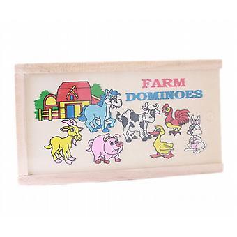 Fin trä gård djur bilder Domino Domino spelet uppsättning barn barn