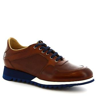 Leonardo Shoes men's handmade sneakers in brown calf leather and blue sole