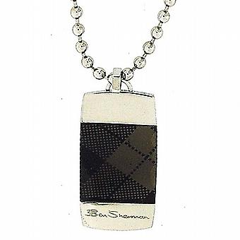 Ben Sherman Black Tartan Gents Dog Tag Pendant on 20 Inch Ball Chain R835.39BS