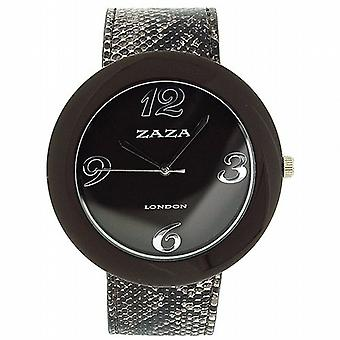 Zaza Londra coccodrillo cinturino in similpelle marrone effetto & Dial Ladies Fashion Watch LLB855