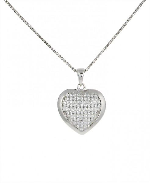 Cavendish French CZ and Sterling Silver Convex Bordered Heart Pendant without Chain