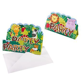 Jungle Animals Party Invitation Cards 8 Piece Safari Adventure Children's Wedding Day