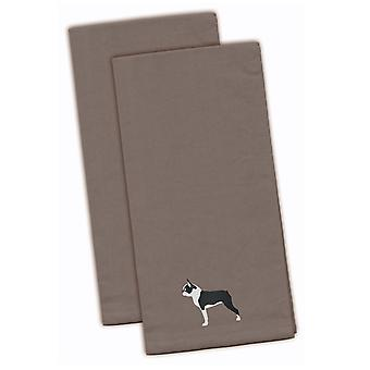 Boston Terrier Gray Embroidered Kitchen Towel Set of 2