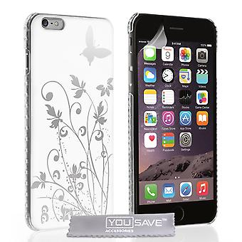 YouSave iPhone 6 Plus and 6s Plus Floral Butterfly Hard Case - White-Silver