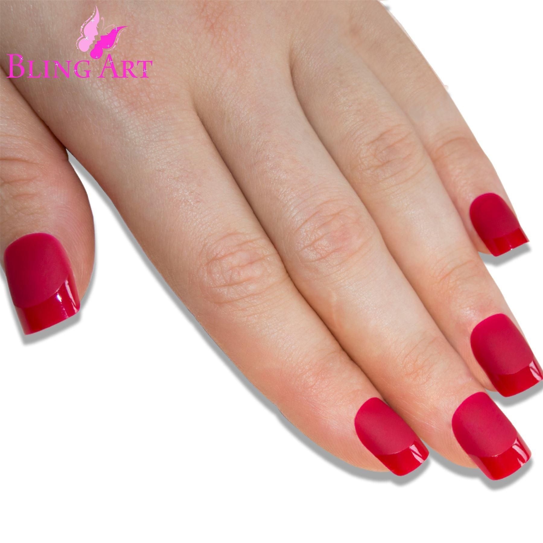 False nails by bling art red matte french manicure fake medium tips with glue