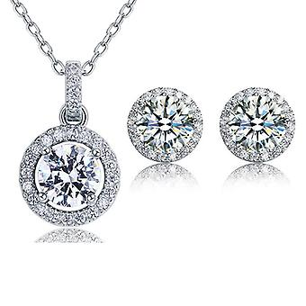 925 Sterling Silver 5 Carats Round-Cut Simulated Diamond Pendant And Earrings Set
