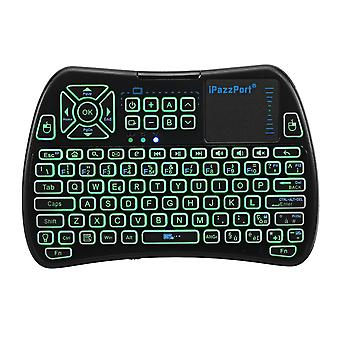 Ipazzport kp-810-61-rgb n three color backlit mini keyboard touchpad airmouse