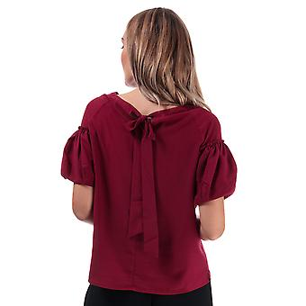 Womens French Connection Crepe Light Puff Sleeve Top In Baked Cherry