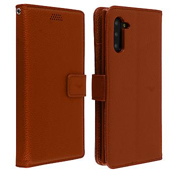 Flip wallet case, slim cover Samsung Galaxy Note 10, silicone shell - Brown