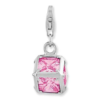 925 Sterling Silver Rhodium-plaqué Fancy Lobster Closure Rhodium Plated 3-d Pink Cubic Zirconia With Lobster Clasp Charm