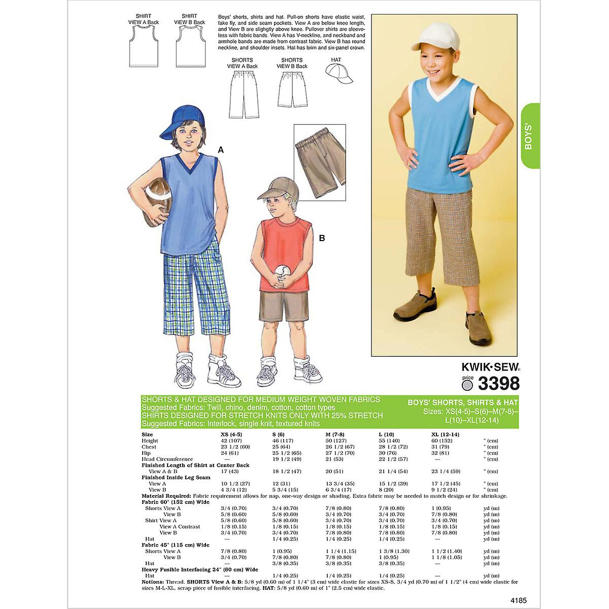 Shorts, Shirts & Hat Xs 4 5 S 6 M 7 8 L 10 Xl patroon K3398