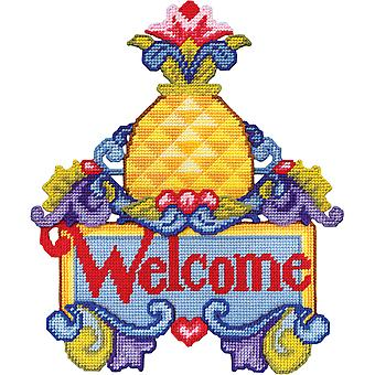 Pineapple Welcome Wall Decor Plastic  Canvas Kit-15