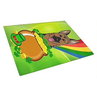 German Shepherd St. Patrick's Day Glass Cutting Board Large BB1955LCB