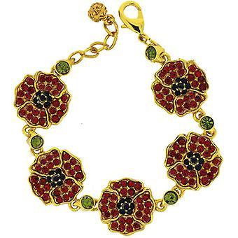 Gold Plated  and  Red Swarovski Crystal Poppy Flower Bracelet