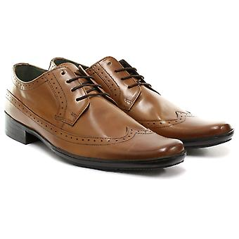 Frank James Kester Burgundy Mens Lace Up Brogue Shoes