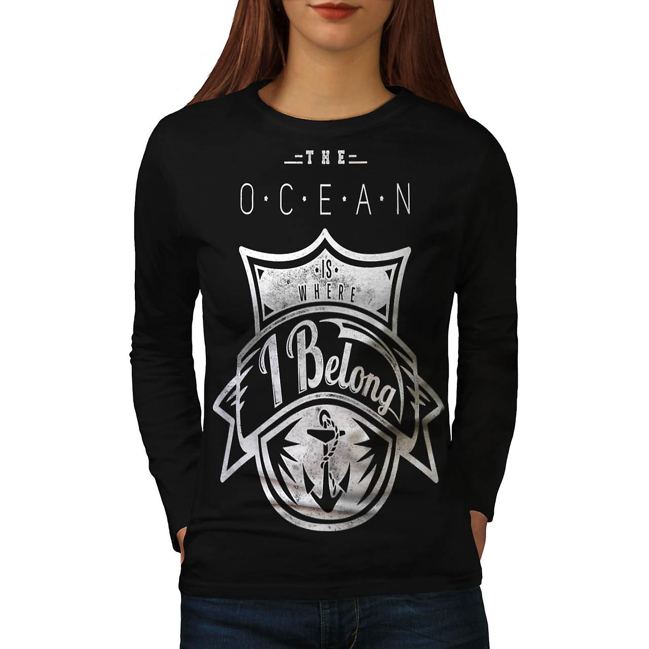 Belong Ocean Sea Boat Love Wave Women Black Long Sleeve T-shirt | Wellcoda