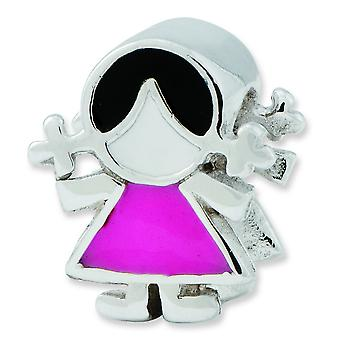 Sterling Silver Enamel Reflecitons Pink Dress Girl Bead Charm