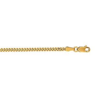 10 k giallo oro 2,0 mm Catena Gourmette Sparkle-Cut con astice Clasp Collana - Lunghezza: da 20 a 24
