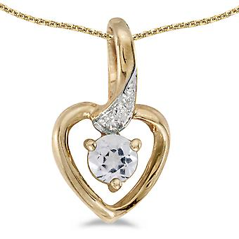 10k Yellow Gold Round White Topaz And Diamond Heart Pendant with 18
