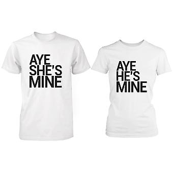 Matching Couple Shirts - Aye She's / He's Mine White Cotton Graphic T-shirts