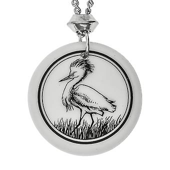 Handmade Snowy Egret Totem Round Shaped Porcelain Pendant ~ 22 inch Chain