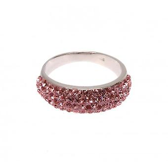 W.A.T Sterling Silver And Pink Cubic Zirconia Ring