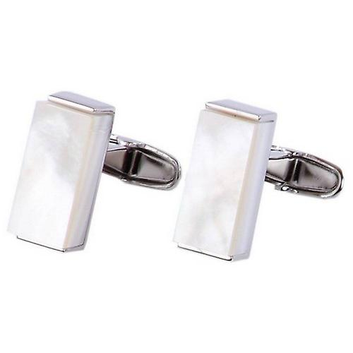 denisonboston Mother Of Pearl And Steel Luxe Oblong Cufflinks - White