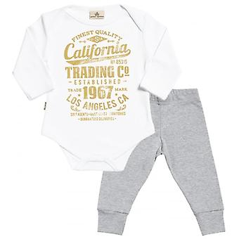 Spoilt Rotten California Print Babygrow & Jersey Trousers Outfit Set