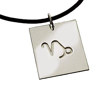 Necklace pendant zodiac sign CAPRICORN 925 sterling silver with natural rubber necklace