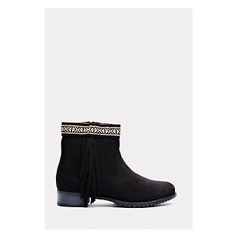 The Fashion Bible Tokyo Black Suede Aztec Fringe Ankle Boots