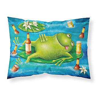 Frog Drinking Beer Fabric Standard Pillowcase
