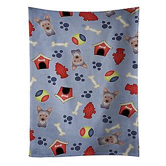 Carolines tesoros BB4011KTWL perro casa colección Yorkie cachorro toalla de cocina