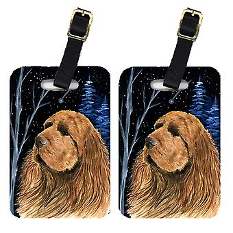Carolines Treasures  SS8391BT Starry Night Sussex Spaniel Luggage Tags Pair of 2