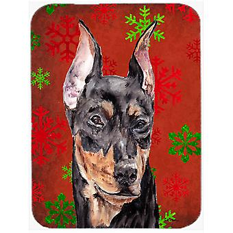 German Pinscher Red Snowflakes Holiday Mouse Pad, Hot Pad or Trivet