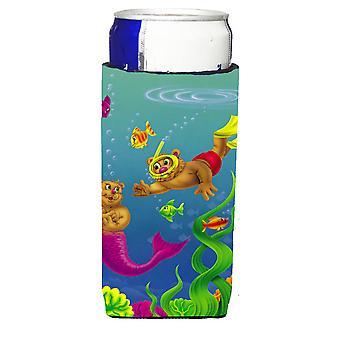 Teddy Bear Meerjungfrau und Taucher Michelob Ultra Getränk Isolator für schlanke Dosen