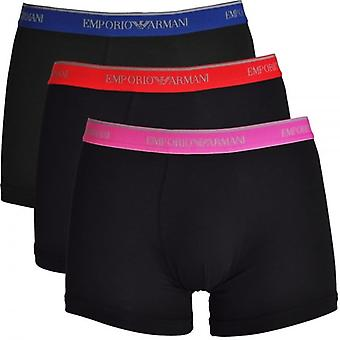 Emporio Armani Fashion Multipack Cotton Stretch 3-Pack Boxer Brief, Black With Blue / Red / Pink, Medium