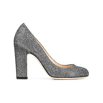Jimmy Choo women's BILLIE100LAGANTHRACITE silver leather pumps