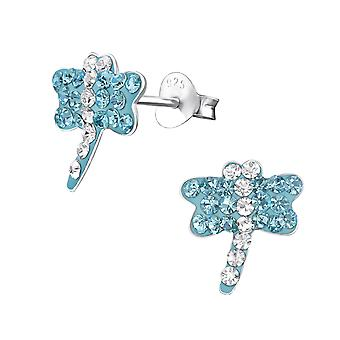Dragonfly - 925 Sterling Silver Crystal Ear Studs