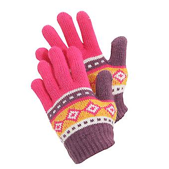 Childrens Girls Aztec Patterned Winter Gloves