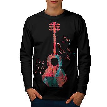 Guitar Geometrical Men BlackLong Sleeve T-shirt | Wellcoda