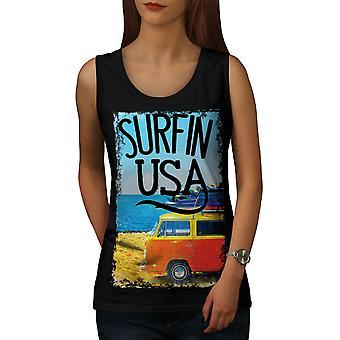 Surfin USA affiche femmes BlackTank Top | Wellcoda