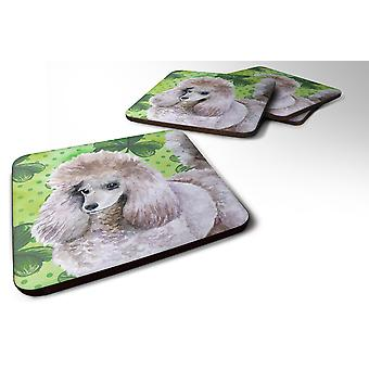 Set of 4 Poodle St Patrick's Foam Coasters Set of 4