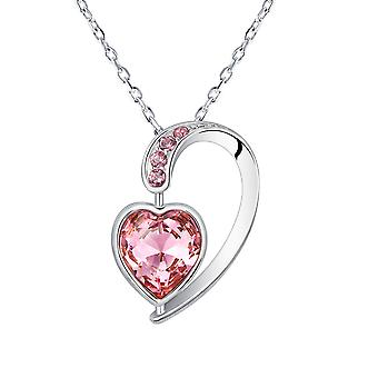 Swarovski Elements Rose Crystal heart pendant and Rhodium plate