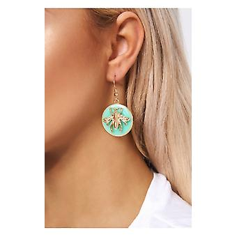 The Fashion Bible Turquoise  & Gold Bee Earrings